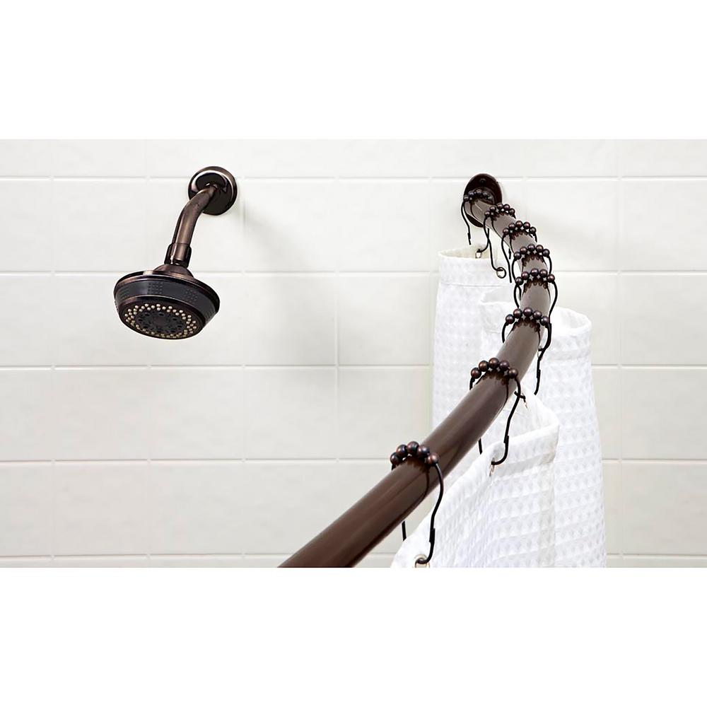 Curved Tension Shower Rod In Bronze