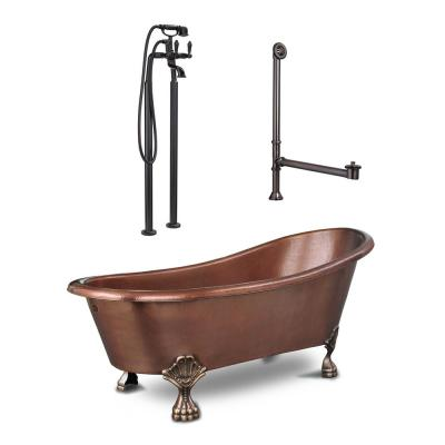 Heisenberg 5.5 ft. All-in-One Solid Copper Bathtub Freestanding Claw Foot with Faucet and Drain in Antique Copper