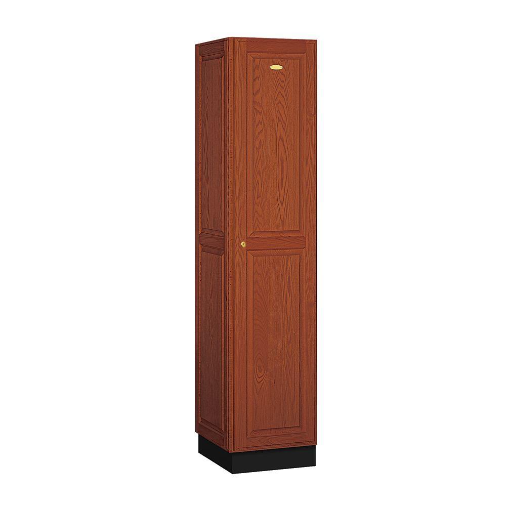 Salsbury Industries 11000 Series 16 in. W x 76 in. H x 18 in. D Single Tier Solid Oak Executive Locker in Medium Oak