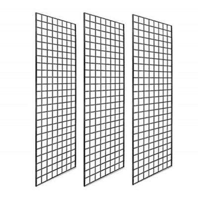 60 in. H x 24 in. W x 2 in. Black Grid Wall Panel Metal (Pack of 3)