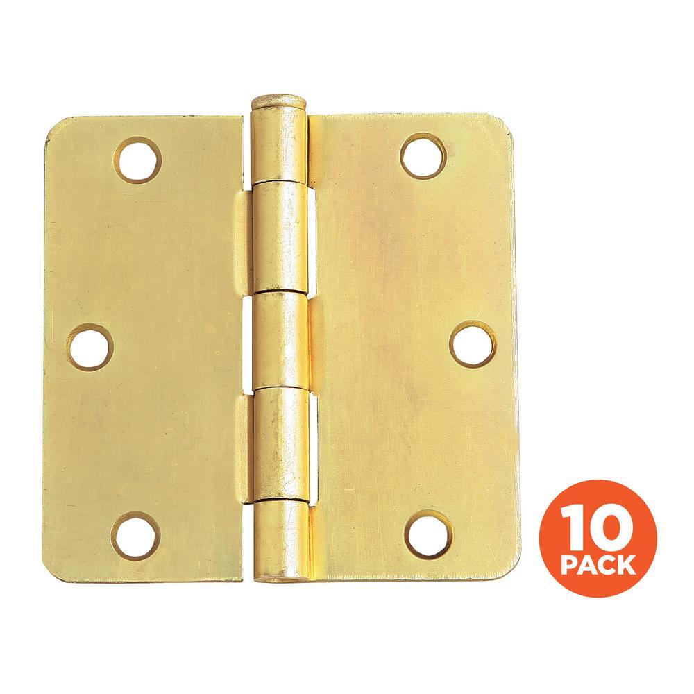 3-1/2 in. x 1/4 in. Radius Satin Brass Door Hinge Value Pack (10 per Pack)