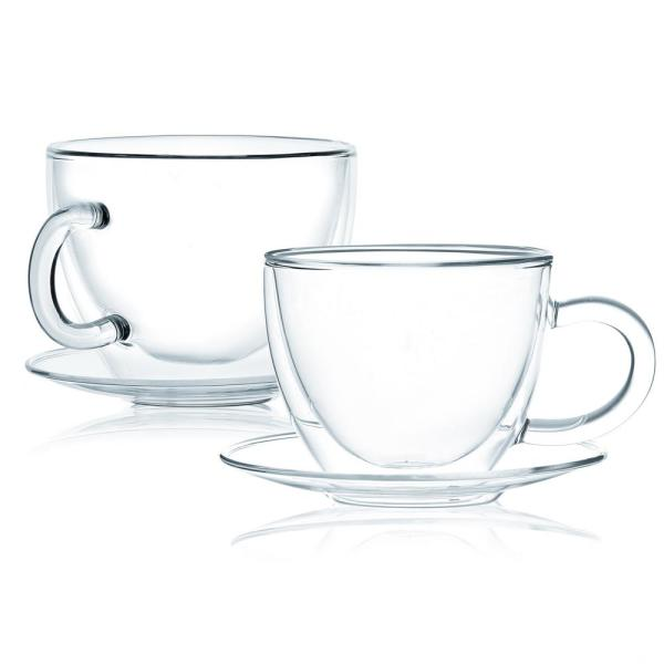 Double Wall Glass Coffee or Tea Cups With Saucers Handle (Set of 8)