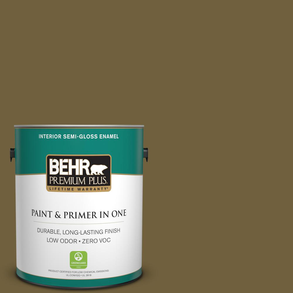 BEHR Premium Plus 1-gal. #360F-7 Olive Shadow Zero VOC Semi-Gloss Enamel Interior Paint