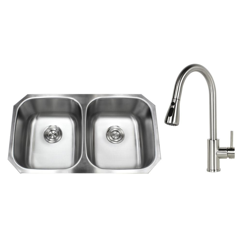 Kingsman Hardware Undermount Stainless Steel 32 In 50 Double Bowl Kitchen Sink With