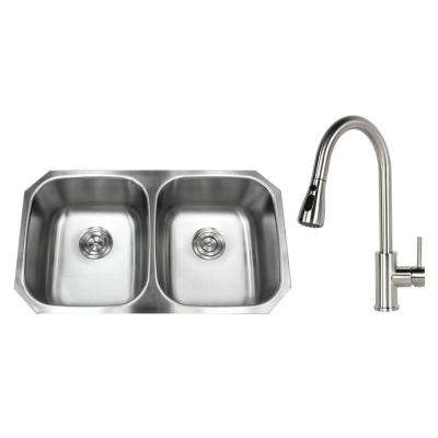 Undermount Stainless Steel 32 in. 50/50 Double Bowl Kitchen Sink with Faucet Brushed Nickel