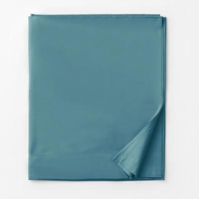 Company Mineral Blue Solid 300-Thread Count Cotton Percale King Flat Sheet