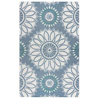 Azzura Hill Soft Grey Medallion 4 ft. x 6 ft. Indoor/Outdoor Area Rug