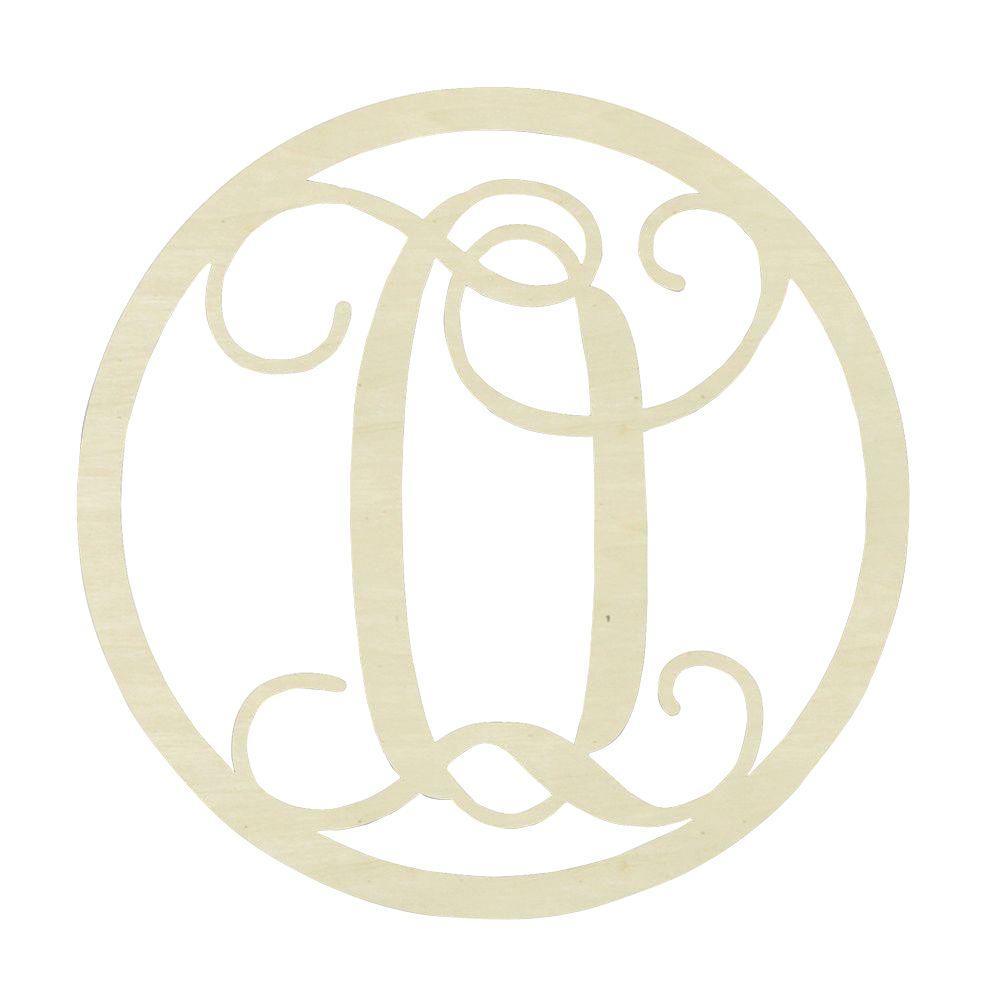19 in. Unfinished Single Circle Monogram (O)