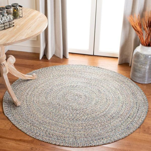 Safavieh Braided Blue Ivory 3 Ft X 3 Ft Round Area Rug Brd701m 3r The Home Depot