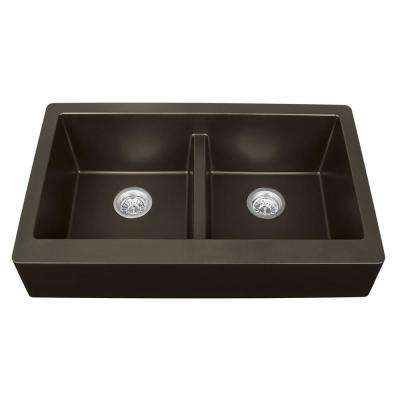 Apron Front Quartz Composite 34 in. Double Bowl Kitchen Sink in Brown
