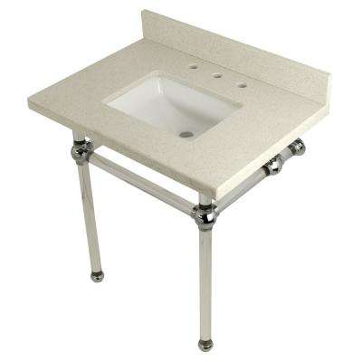 Square-Sink Washstand 30 in. Console Table in White Quartz with Acrylic Legs in Polished Chrome