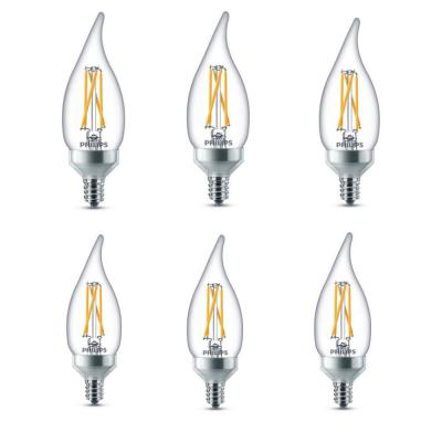 40-Watt Equivalent B11 Dimmable with Warm Glow Dimming Effect LED Bent Tip Candle Light Bulb Soft White (6-Pack)