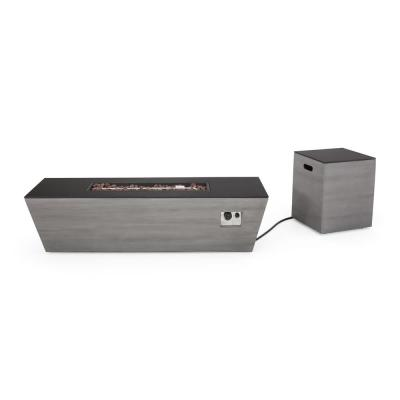 Langton 16 in. x 20 in. Rectangular Concrete Propane Fire Pit in Dark Grey with Tank Holder