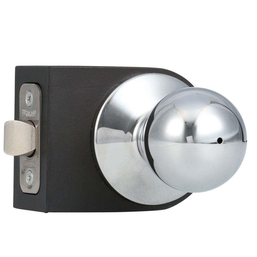 Schlage Orbit Bright Chrome Privacy Bed/Bath Door Knob-F40 ORB 625 ...