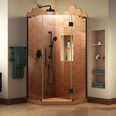 Prism Plus 36 in. D x 36 in. W x 72 in. H Semi-Frameless Neo-Angle Hinged Shower Enclosure in Satin Black