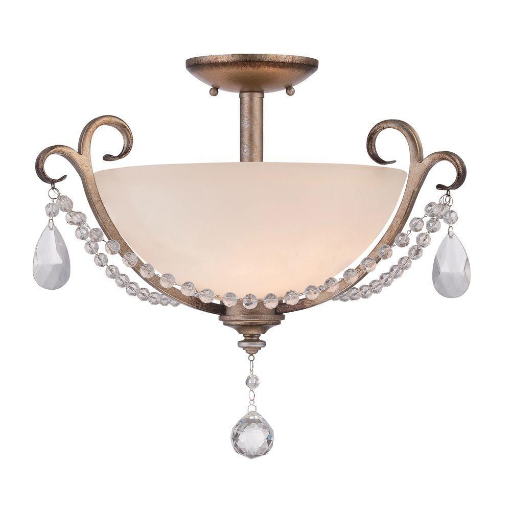 Gala 2-Light Argent Silver Interior Incandescent Semi Flush Mount