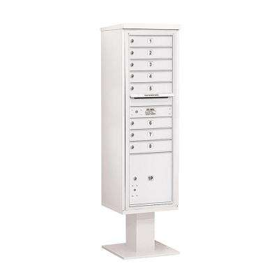 3400 Series White Mount 4C Pedestal Mailbox with 8 MB1 Doors/1 PL5