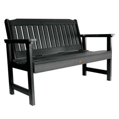 Lehigh 48 in. 2-Person Black Recycled Plastic Outdoor Garden Bench