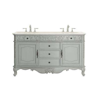Winslow 60 in. W x 22 in. D Vanity in Antique Gray with Marble Vanity top in White with White Sinks