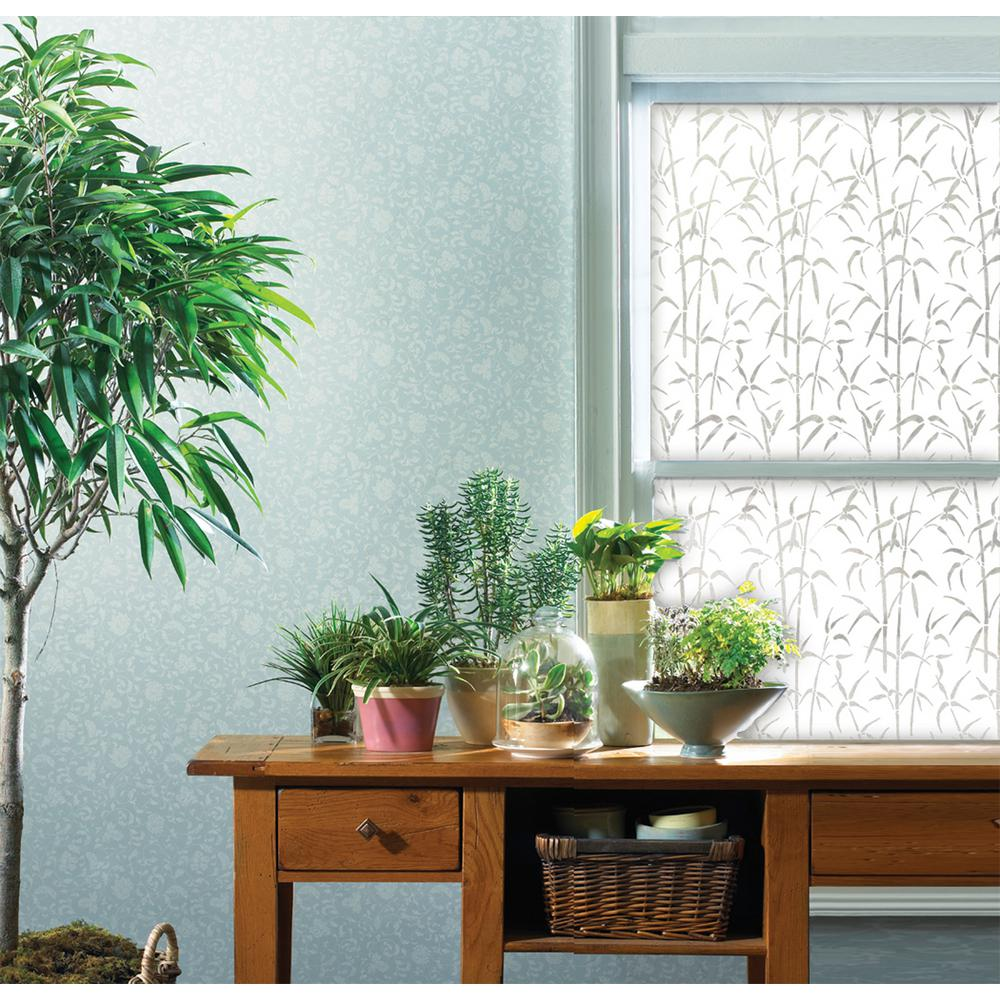 DC Fix 17.71 in. x 78.74 in. Bamboo Window Privacy Window Film Add privacy and style to any glass surface with bamboo privacy window film. The classy design with bamboo leaves and shoots makes a feng-shui asian themed decor accent for your glass. These window films will not only create a soothing privacy and block unsightly views, but they will also reduce glare and 95% of UV rays.