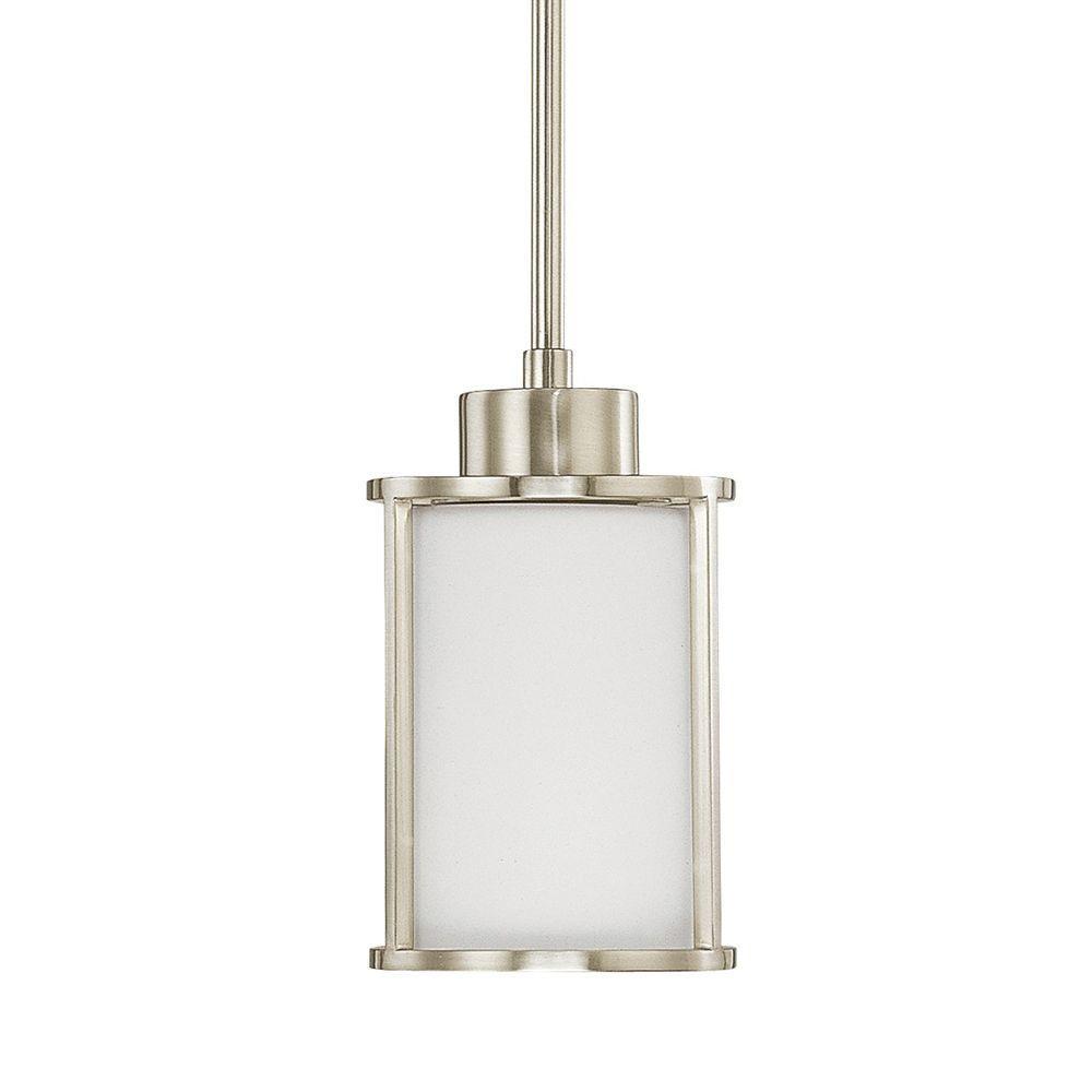 1-Light Brushed Nickel Mini-Pendant with White Glass Shade