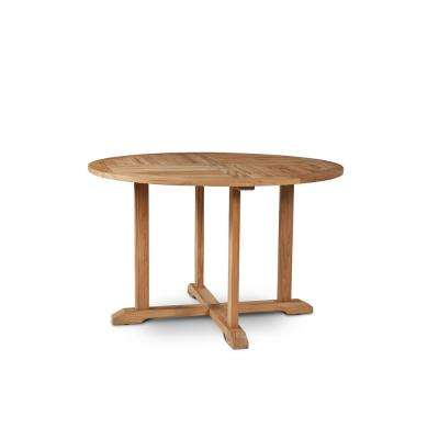 Curtis 35.5 in. Dia Round Teak Wood Outdoor Dining Table