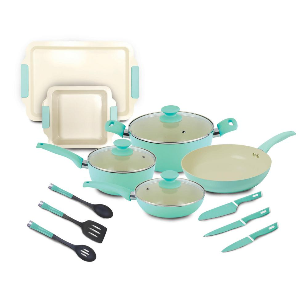 Reviews For Iko Crema Collection 15 Piece Aluminum Nonstick Cookware Set In Green Crs01 15 Gn The Home Depot