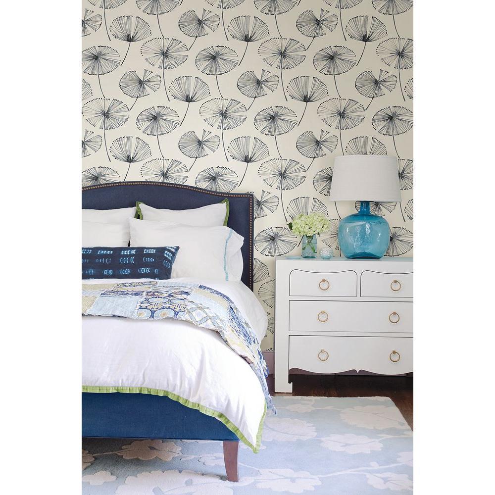 Paradise Navy Fronds Wallpaper