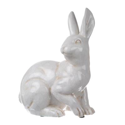 Distressed White Hector Alert Long Eared Rabbit Statuette
