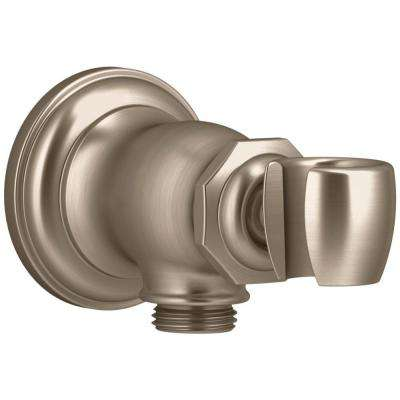 Artifacts Wall-Mount Handshower Holder and Supply Elbow in Vibrant Brushed Bronze