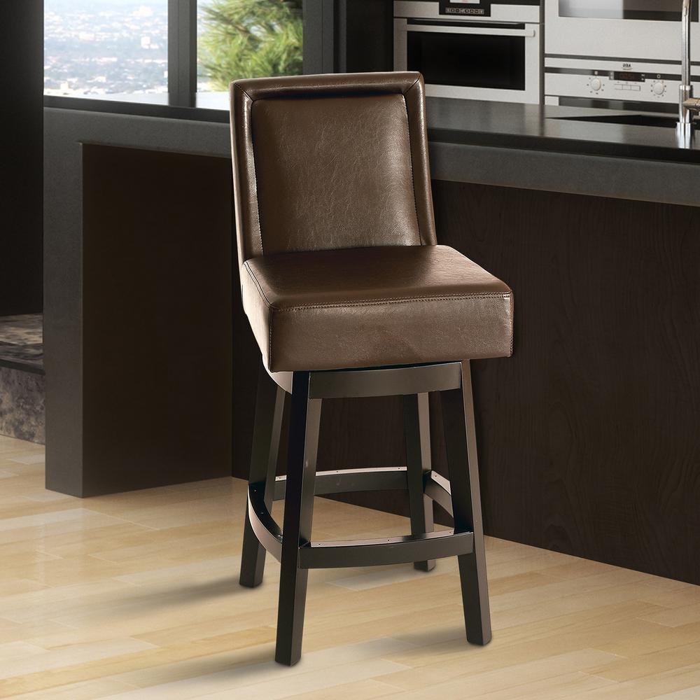 Armen Living Wayne 26 In. Brown Bonded Leather And Brown Finish Swivel  Barstool