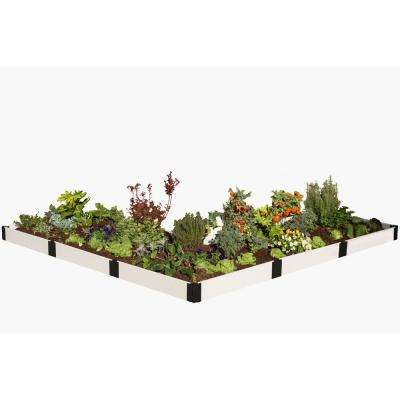 12 ft. x 12 ft. x 8 in. Classic White Composite L Shaped Raised Garden Bed Kit