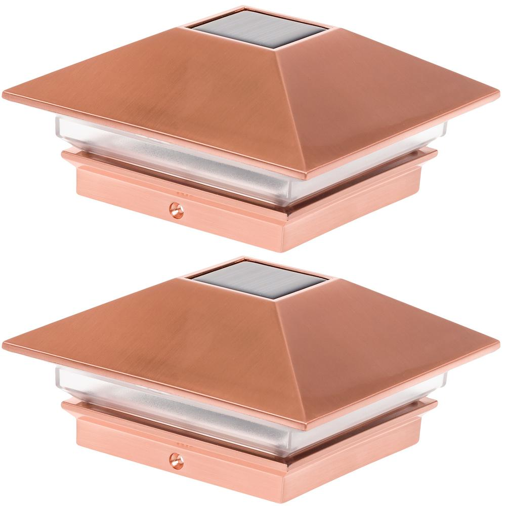Greenlighting 4 in x 4 in solar powered integrated led copper slim solar powered integrated led copper slim post cap aloadofball Choice Image