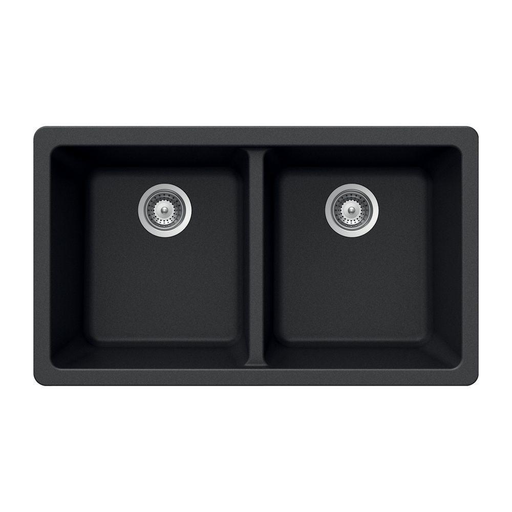 HOUZER Madison Series Undermount Granite 33x18.5x9.5 0-hole Double Basin Kitchen Sink in Onyx
