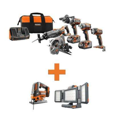 18-Volt Lithium-Ion Cordless 5-Tool Combo w/Bonus OCTANE Brushless Jig Saw & Hybrid Folding Panel Light