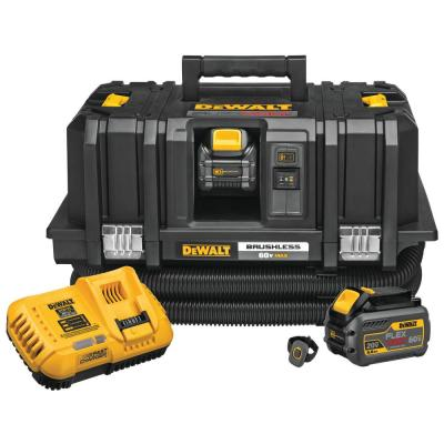 FLEXVOLT 60-Volt Max Cordless Lithium Ion Dust Extractor Kit with 2 Batteries 6.0 Ah, Charger and Remote
