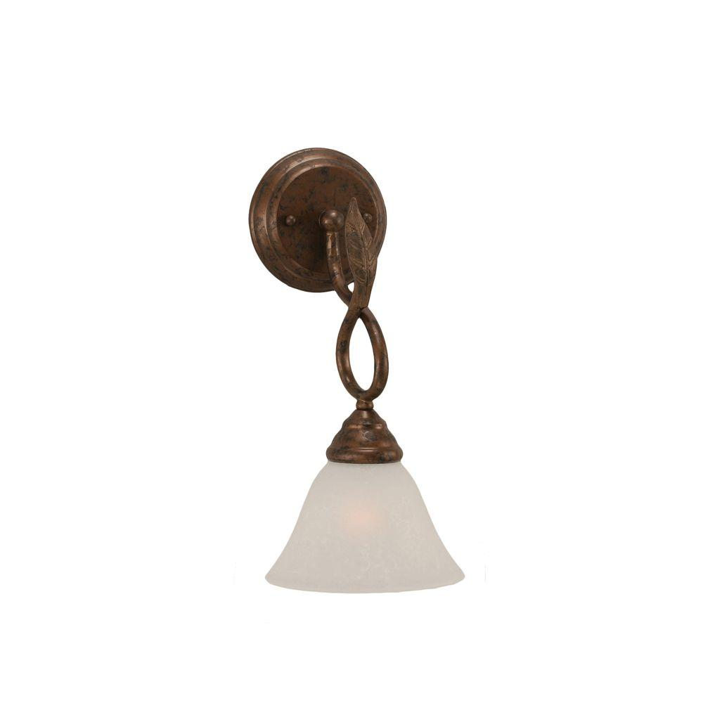 1-Light Bronze Wall Sconce with White Marble Glass Shade