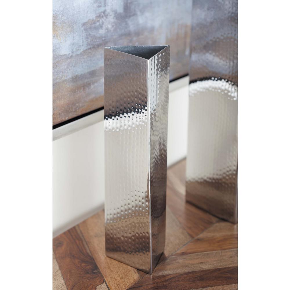 Triangular Prism Silver Stainless Steel Decorative Vase
