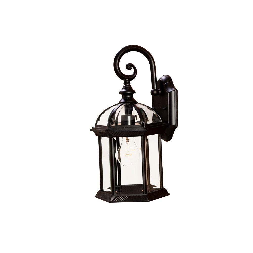 Dover Collection 1-Light Matte Black Outdoor Wall-Mount Light Fixture