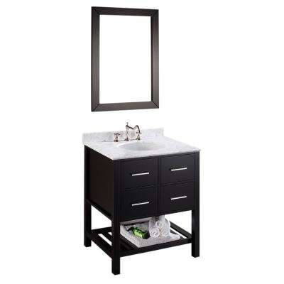 Bosconi 30 in. W Single Bath Vanity in Black with White Carrara Marble Vanity Top in White with White Basin and Mirror