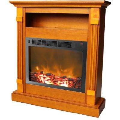 Drexel 34 in. Electric Fireplace with 1500-Watt Log Insert and Teak Mantel