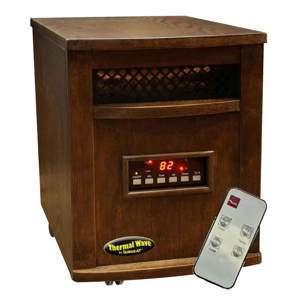 SUNHEAT 17.5 in. 1500-Watt Infrared Electric Portable Heater with Remote Control - Espresso