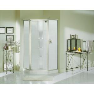 Sterling Intrigue 27-9/16 inch x 72 inch Framed Neo-Angle Shower Door in Silver with Handle by STERLING