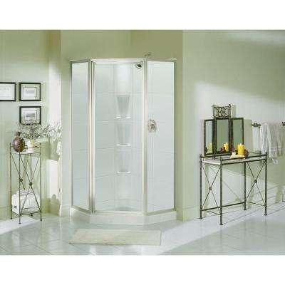 Intrigue 27-9/16 in. x 72 in. Framed Neo-Angle Shower Door in Silver with Handle