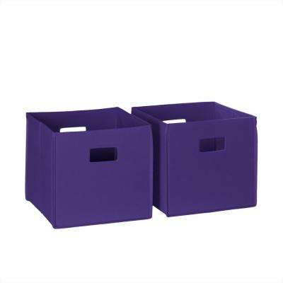 10.5 in. x 10 in. Folding Storage Bin Set in Dark Purple (2-Piece)
