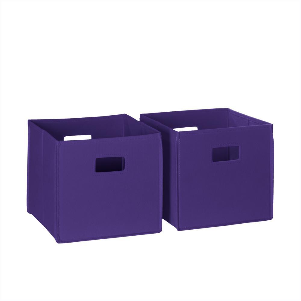 10.5 in. x 10 in. Folding Storage Bin Set in Dark Purple (2-Piece)