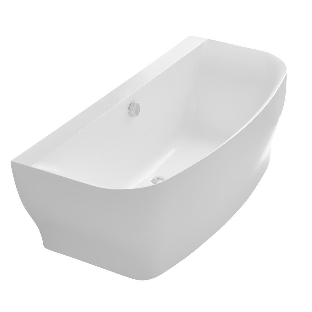 ANZZI Bank 5.41 ft. Acrylic Flatbottom Non-Whirlpool Bathtub in White