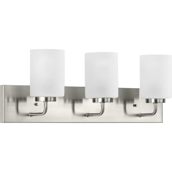 Merry  3-Light Brushed Nickel Etched Glass Transitional Bath Vanity Light