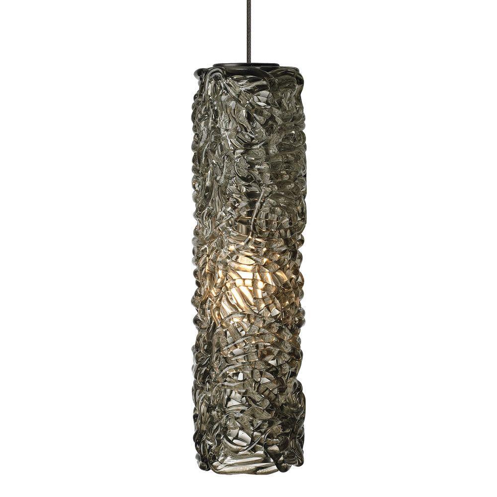 LBL Lighting Mini-Isis Cylinder 1-Light Bronze Xenon Hanging Mini Pendant with Smoke Shade