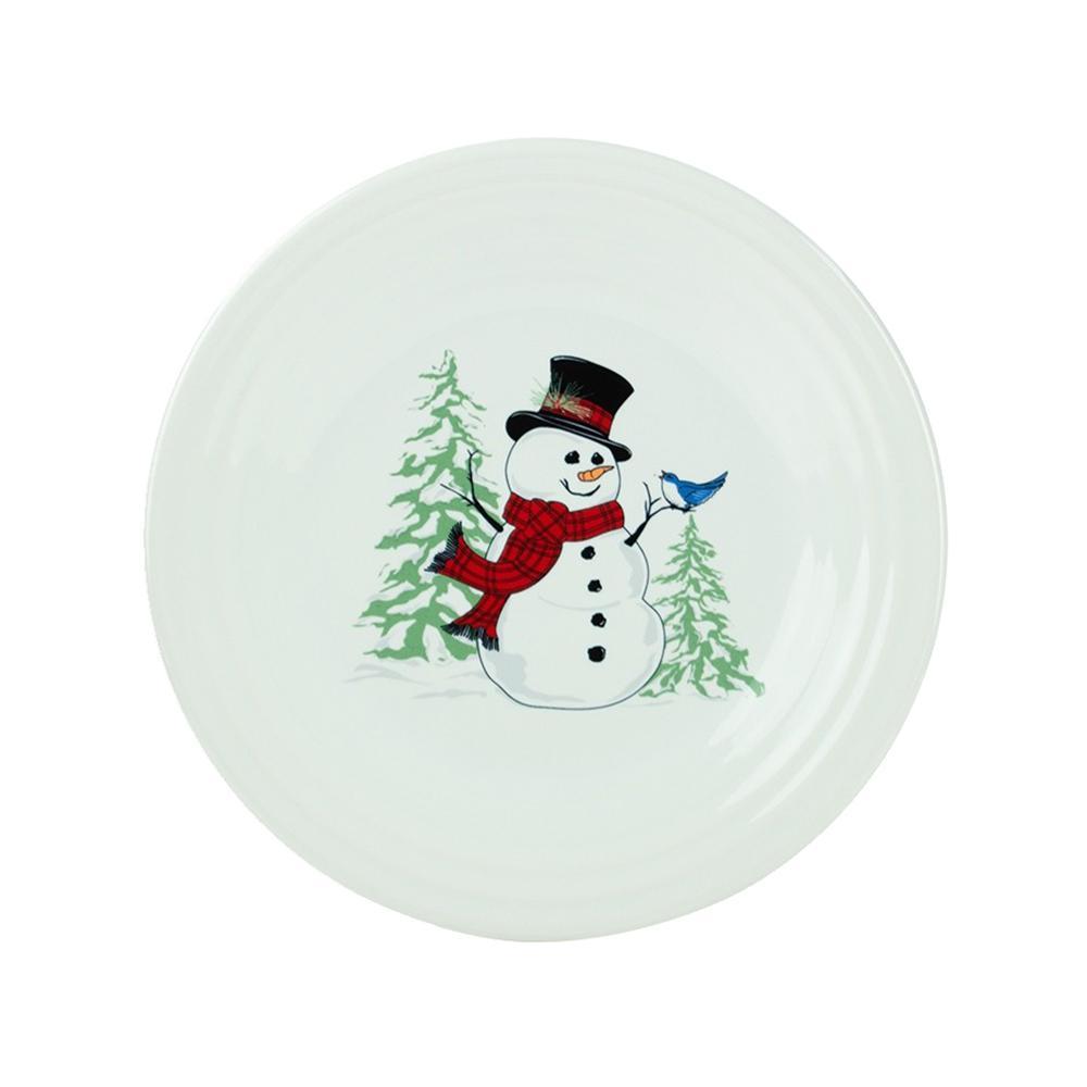 White Snowman Luncheon Plate
